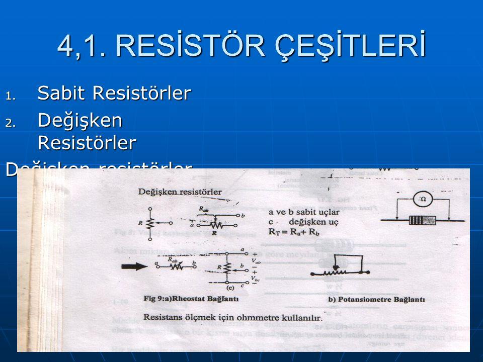 4,1. RESİSTÖR ÇEŞİTLERİ 1. Sabit Resistörler 2. Değişken Resistörler Değişken resistörler