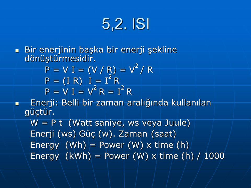 5,2. ISI Bir enerjinin başka bir enerji şekline dönüştürmesidir. Bir enerjinin başka bir enerji şekline dönüştürmesidir. P = V I = (V / R) = V 2 / R P