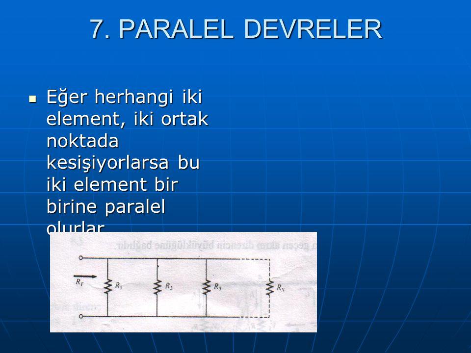 7. PARALEL DEVRELER Eğer herhangi iki element, iki ortak noktada kesişiyorlarsa bu iki element bir birine paralel olurlar. Eğer herhangi iki element,