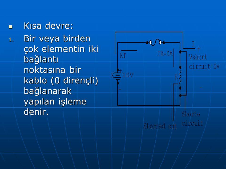 Kısa devre: Kısa devre: 1. Bir veya birden çok elementin iki bağlantı noktasına bir kablo (0 dirençli) bağlanarak yapılan işleme denir.