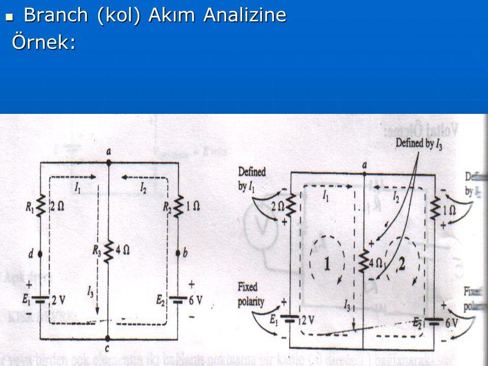 Branch (kol) Akım Analizine Branch (kol) Akım Analizine Örnek: Örnek: