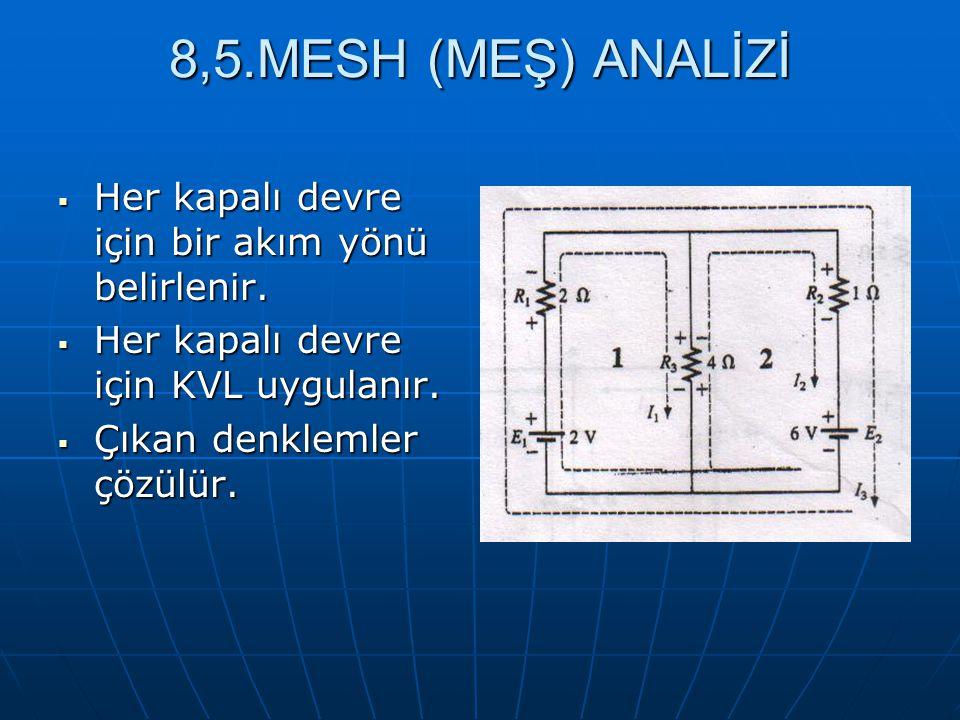 8,5.MESH (MEŞ) ANALİZİ  Her kapalı devre için bir akım yönü belirlenir.  Her kapalı devre için KVL uygulanır.  Çıkan denklemler çözülür.
