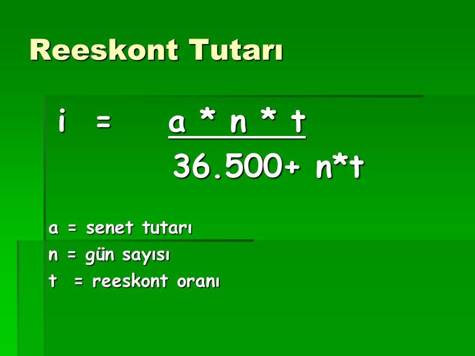 Reeskont Tutarı i = a * n * t i = a * n * t 36.500+ n*t 36.500+ n*t a = senet tutarı n = gün sayısı t = reeskont oranı