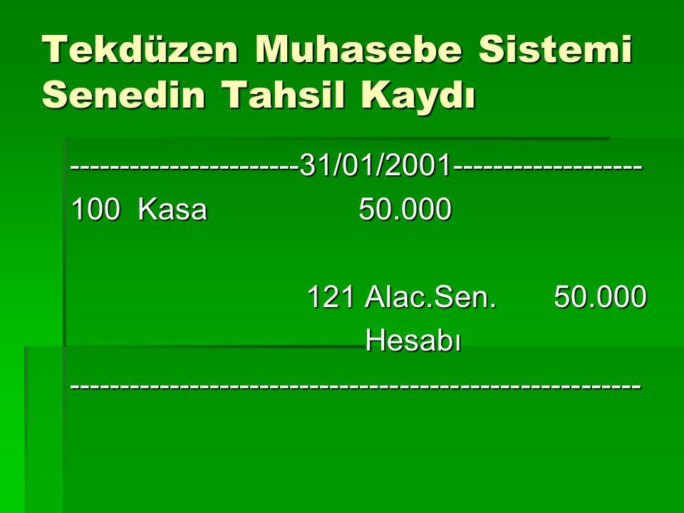 Tekdüzen Muhasebe Sistemi Senedin Tahsil Kaydı -----------------------31/01/2001------------------- 100 Kasa 50.000 121 Alac.Sen. 50.000 121 Alac.Sen.