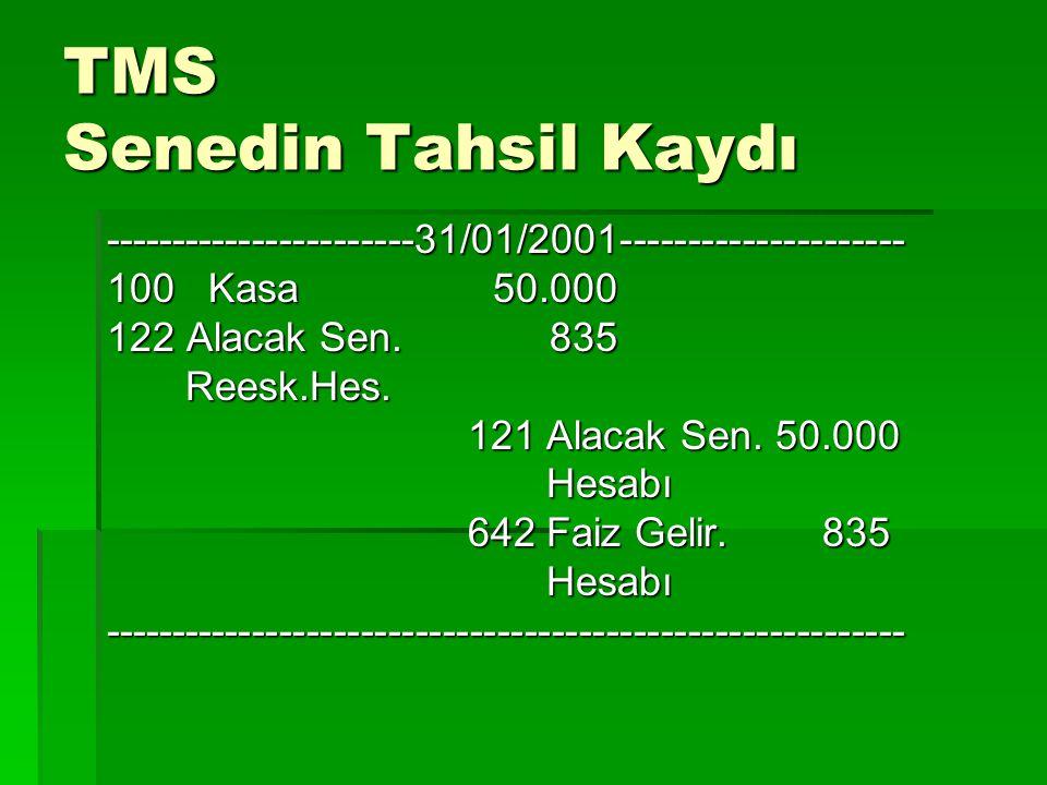 TMS Senedin Tahsil Kaydı -----------------------31/01/2001--------------------- 100 Kasa 50.000 122 Alacak Sen. 835 Reesk.Hes. Reesk.Hes. 121 Alacak S