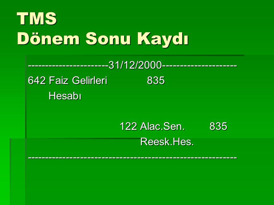 TMS Dönem Sonu Kaydı -----------------------31/12/2000--------------------- 642 Faiz Gelirleri 835 Hesabı Hesabı 122 Alac.Sen. 835 122 Alac.Sen. 835 R