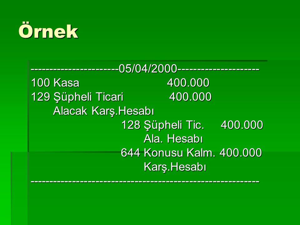 Örnek -----------------------05/04/2000--------------------- 100 Kasa 400.000 129 Şüpheli Ticari 400.000 Alacak Karş.Hesabı Alacak Karş.Hesabı 128 Şüp