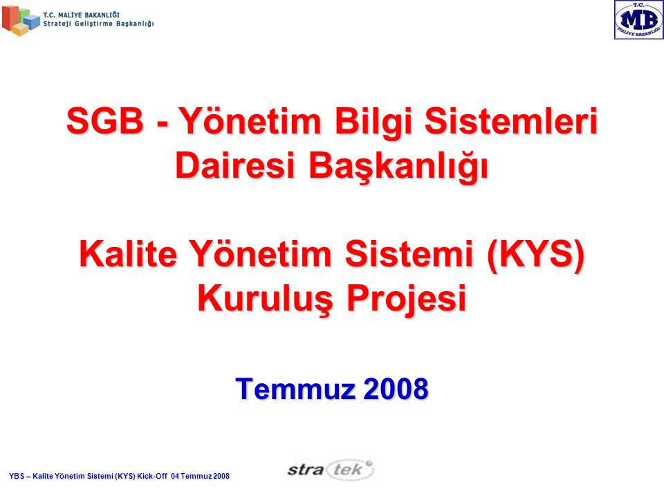 YBS – Kalite Yönetim Sistemi (KYS) Kick-Off 04 Temmuz 2008 Çalışma Aşamaları (Devamı var) Proje Başlangıcı ve Kick-off (bugün)Proje Başlangıcı ve Kick-off (bugün) Proje PlanlamaProje Planlama Bilinçlendirme ve EğitimlerBilinçlendirme ve Eğitimler Görevlendirme ve OrganizasyonGörevlendirme ve Organizasyon Taslak Süreçleri oluşturma (Dokümantasyon)Taslak Süreçleri oluşturma (Dokümantasyon) KYS İşleyiş sürecini belirlemeKYS İşleyiş sürecini belirleme Taslak Süreçleri finalize etme, kesinleştirmeTaslak Süreçleri finalize etme, kesinleştirme KYS Yazılım gereksinimlerini belirlemeKYS Yazılım gereksinimlerini belirleme