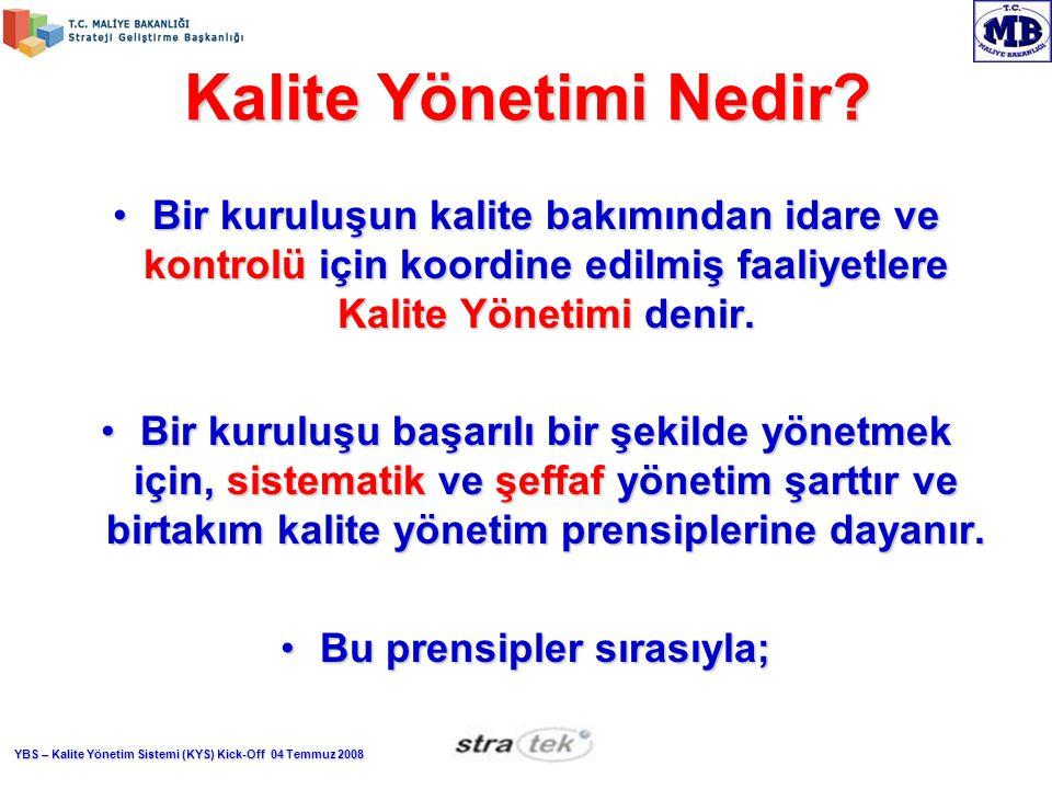 YBS – Kalite Yönetim Sistemi (KYS) Kick-Off 04 Temmuz 2008 Kalite Yönetimi Nedir.
