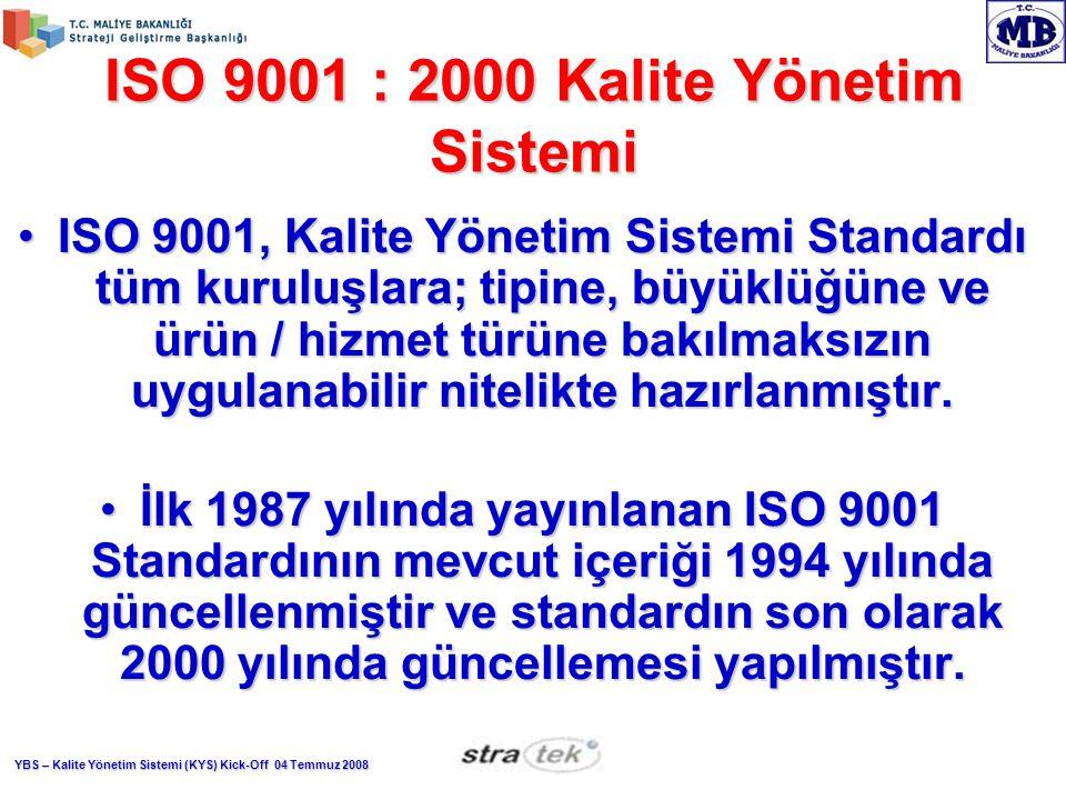 YBS – Kalite Yönetim Sistemi (KYS) Kick-Off 04 Temmuz 2008 ISO 9001 : 2000 Kalite Yönetim Sistemi ISO 9001, Kalite Yönetim Sistemi Standardı tüm kuruluşlara; tipine, büyüklüğüne ve ürün / hizmet türüne bakılmaksızın uygulanabilir nitelikte hazırlanmıştır.ISO 9001, Kalite Yönetim Sistemi Standardı tüm kuruluşlara; tipine, büyüklüğüne ve ürün / hizmet türüne bakılmaksızın uygulanabilir nitelikte hazırlanmıştır.