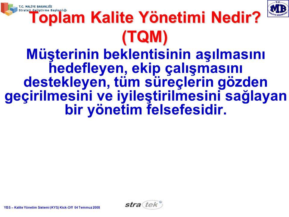 YBS – Kalite Yönetim Sistemi (KYS) Kick-Off 04 Temmuz 2008 Toplam Kalite Yönetimi Nedir.