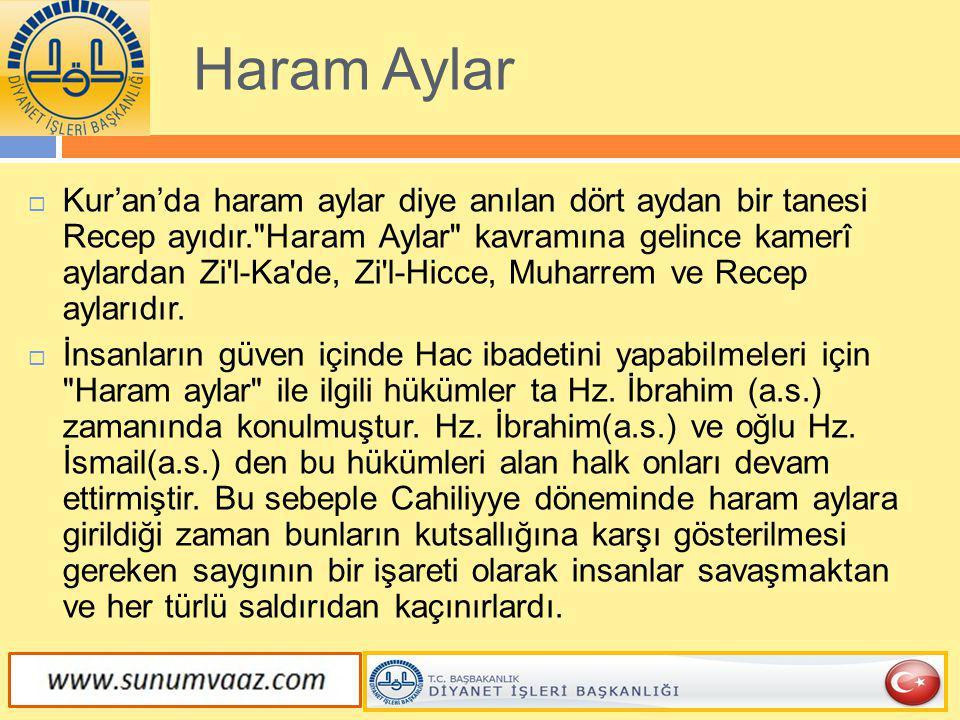 Haram Aylar  Kur'an'da haram aylar diye anılan dört aydan bir tanesi Recep ayıdır.