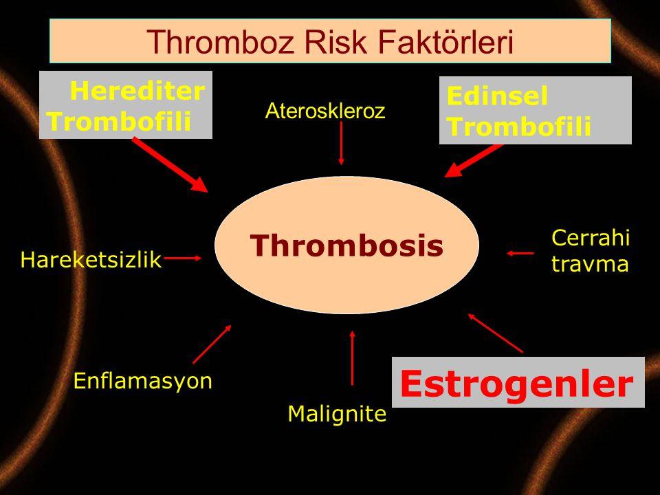 Thrombosis Herediter Trombofili Edinsel Trombofili Cerrahi travma Hareketsizlik Enflamasyon Malignite Estrogenler Thromboz Risk Faktörleri Aterosklero