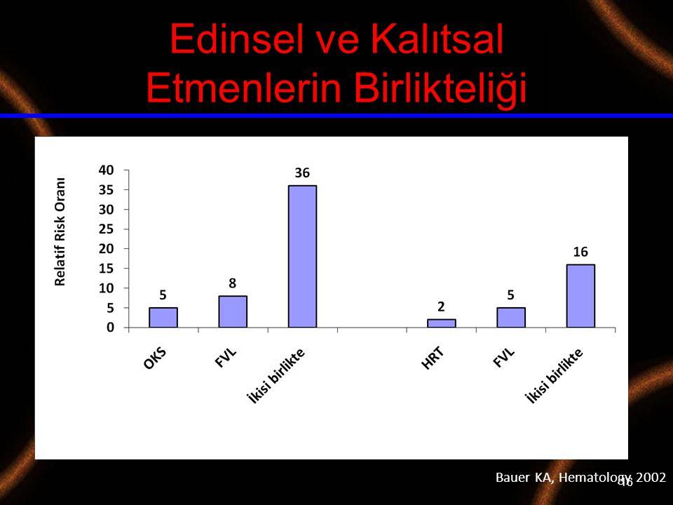 16 Edinsel ve Kalıtsal Etmenlerin Birlikteliği Bauer KA, Hematology 2002