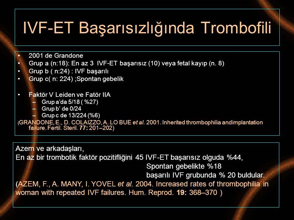 2001 de Grandone Grup a (n:18): En az 3 IVF-ET başarısız (10) veya fetal kayıp (n. 8) Grup b ( n:24) : IVF başarılı Grup c( n: 224) ;Spontan gebelik F