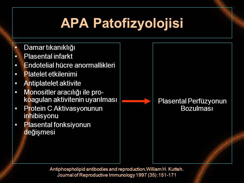 Damar tıkanıklığı Plasental infarkt Endotelial hücre anormallikleri Platelet etkilenimi Antiplatelet aktivite Monositler aracılığı ile pro- koagulan a