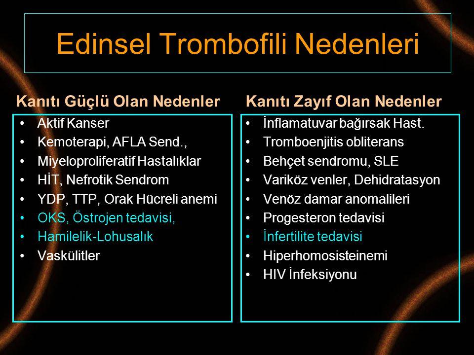 Edinsel Trombofili Nedenleri Kanıtı Güçlü Olan Nedenler Aktif Kanser Kemoterapi, AFLA Send., Miyeloproliferatif Hastalıklar HİT, Nefrotik Sendrom YDP,