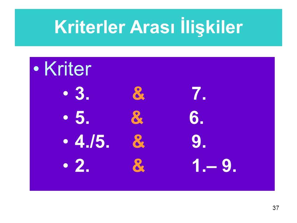 37 Kriterler Arası İlişkiler Kriter 3. & 7. 5. & 6. 4./5. & 9. 2. & 1.– 9.