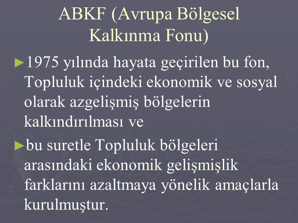 ABKF (Avrupa Bölgesel Kalkınma Fonu) ► ► 1975 yılında hayata geçirilen bu fon, Topluluk içindeki ekonomik ve sosyal olarak azgelişmiş bölgelerin kalkı