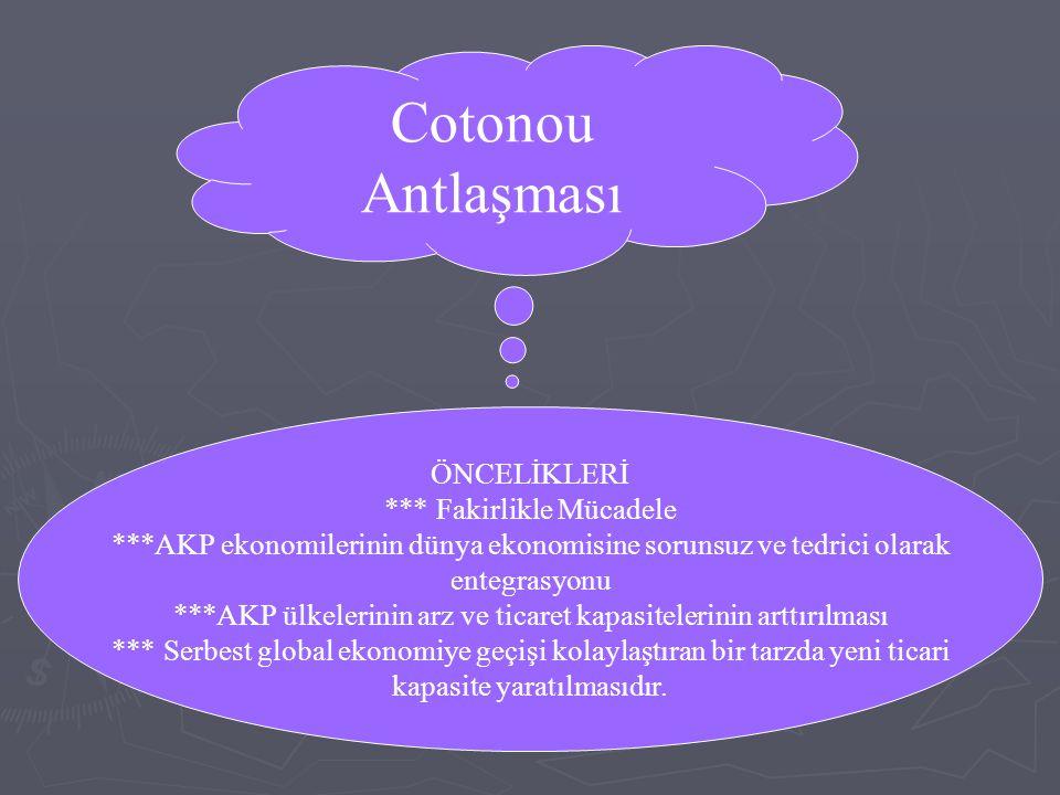 Cotonou Antlaşması ÖNCELİKLERİ *** Fakirlikle Mücadele ***AKP ekonomilerinin dünya ekonomisine sorunsuz ve tedrici olarak entegrasyonu ***AKP ülkeleri