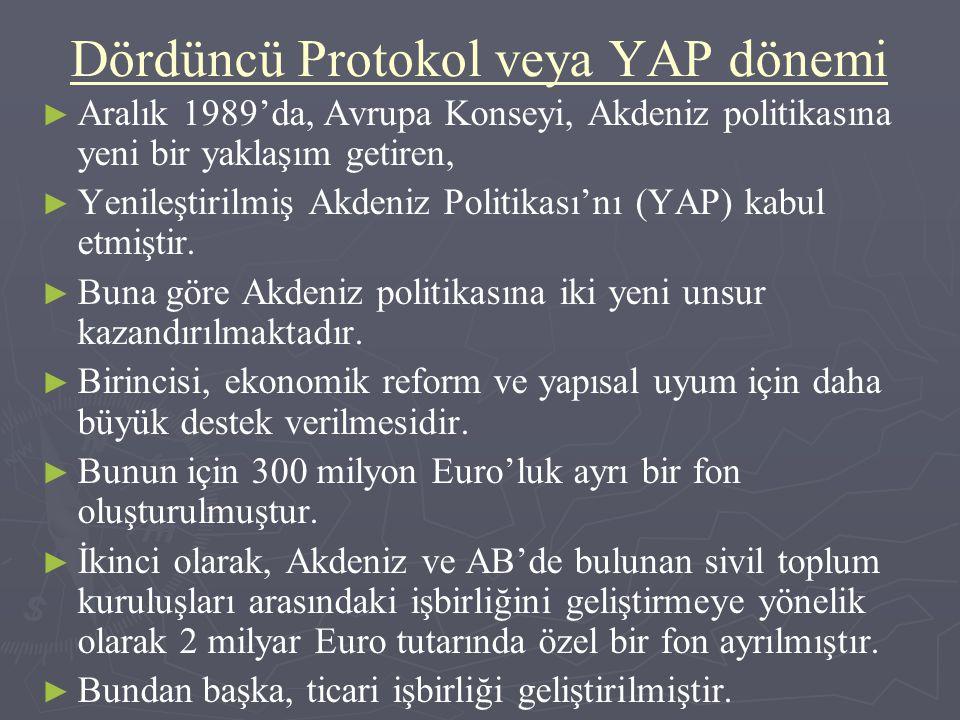 Dördüncü Protokol veya YAP dönemi ► ► Aralık 1989'da, Avrupa Konseyi, Akdeniz politikasına yeni bir yaklaşım getiren, ► ► Yenileştirilmiş Akdeniz Poli