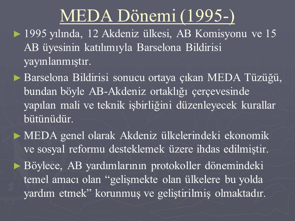 MEDA Dönemi (1995-) ► ► 1995 yılında, 12 Akdeniz ülkesi, AB Komisyonu ve 15 AB üyesinin katılımıyla Barselona Bildirisi yayınlanmıştır. ► ► Barselona