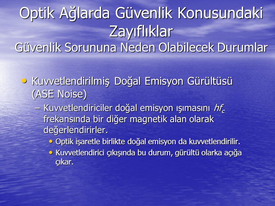 Optik Ağlarda Güvenlik Konusundaki Zayıflıklar Güvenlik Sorununa Neden Olabilecek Durumlar Kuvvetlendirilmiş Doğal Emisyon Gürültüsü (ASE Noise) Kuvve