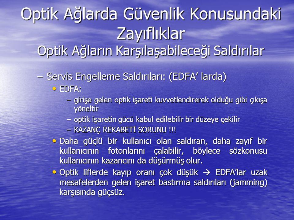 Optik Ağlarda Güvenlik Konusundaki Zayıflıklar Optik Ağların Karşılaşabileceği Saldırılar –Servis Engelleme Saldırıları: (EDFA' larda) EDFA: EDFA: –gi