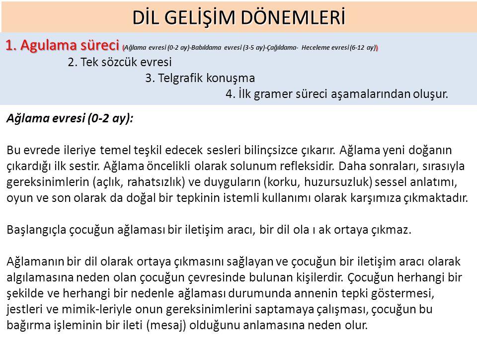 DİL GELİŞİM DÖNEMLERİ 1.Agulama süreci () 1.