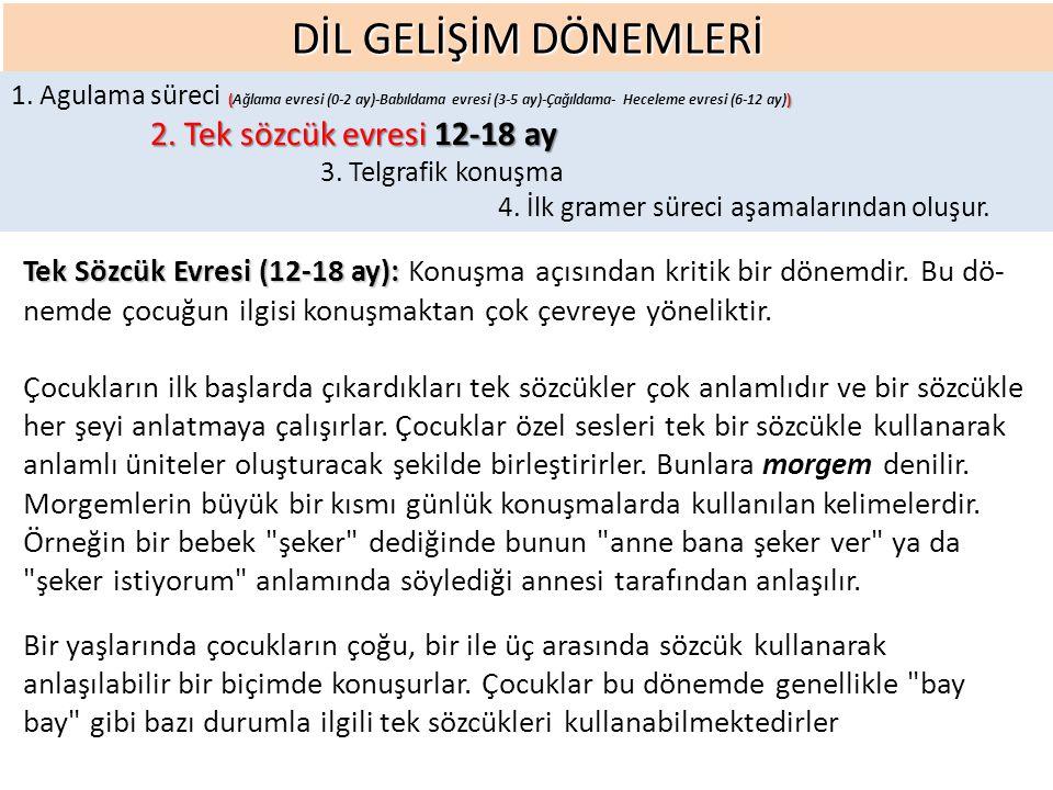 DİL GELİŞİM DÖNEMLERİ Tek Sözcük Evresi (12-18 ay): Tek Sözcük Evresi (12-18 ay): Konuşma açısından kritik bir dönemdir.