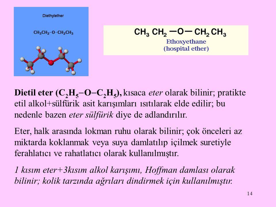 14 Dietil eter (C 2 H 5  O  C 2 H 5 ), kısaca eter olarak bilinir; pratikte etil alkol+sülfürik asit karışımları ısıtılarak elde edilir; bu nedenle bazen eter sülfürik diye de adlandırılır.