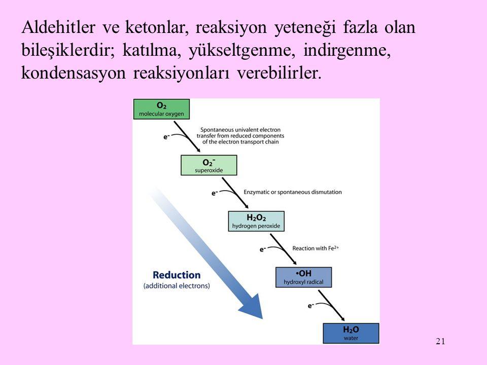 21 Aldehitler ve ketonlar, reaksiyon yeteneği fazla olan bileşiklerdir; katılma, yükseltgenme, indirgenme, kondensasyon reaksiyonları verebilirler.