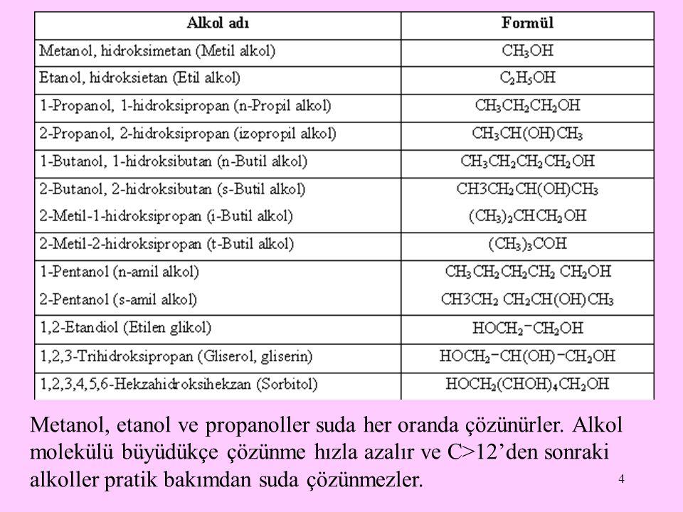 4 Metanol, etanol ve propanoller suda her oranda çözünürler.