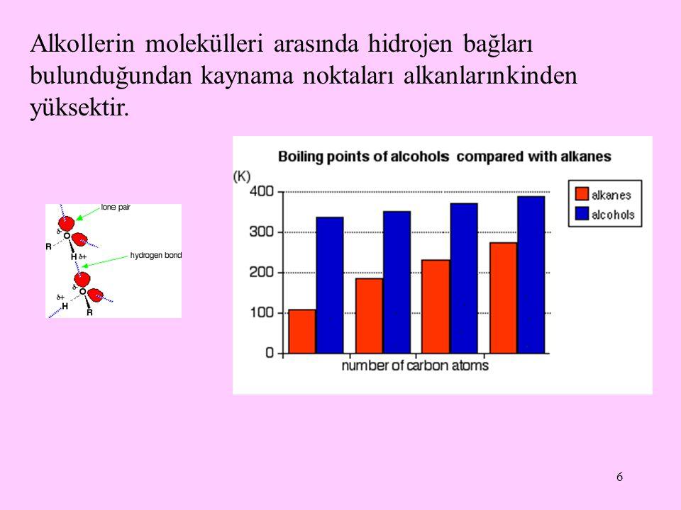 6 Alkollerin molekülleri arasında hidrojen bağları bulunduğundan kaynama noktaları alkanlarınkinden yüksektir.