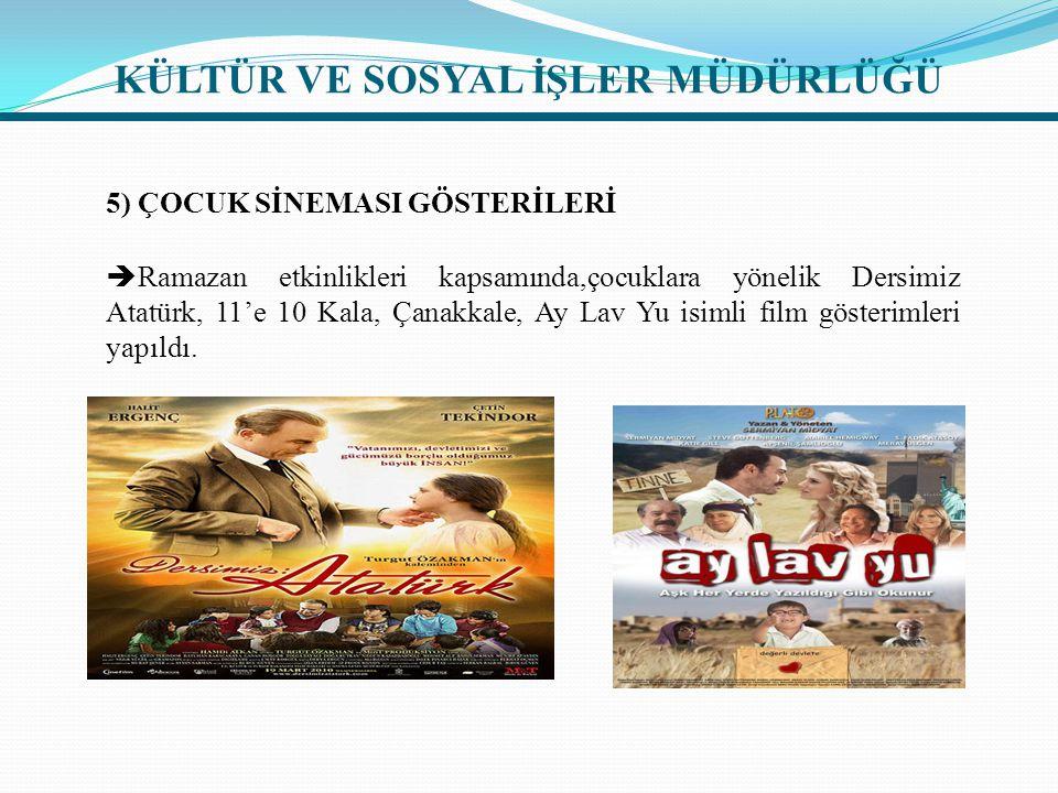5) ÇOCUK SİNEMASI GÖSTERİLERİ  Ramazan etkinlikleri kapsamında,çocuklara yönelik Dersimiz Atatürk, 11'e 10 Kala, Çanakkale, Ay Lav Yu isimli film gösterimleri yapıldı.
