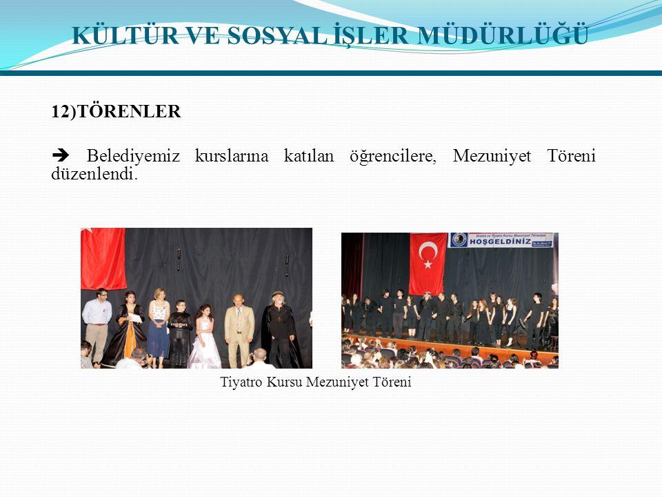 12)TÖRENLER  Belediyemiz kurslarına katılan öğrencilere, Mezuniyet Töreni düzenlendi.