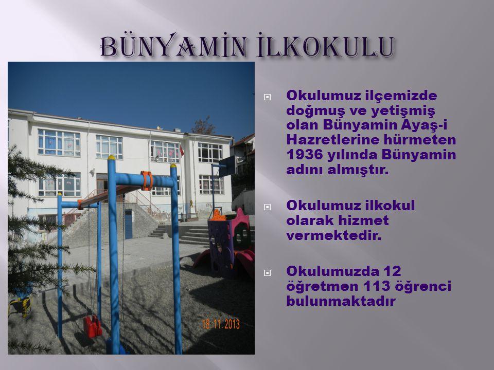  Okulumuz ilçemizde doğmuş ve yetişmiş olan Bünyamin Ayaş-i Hazretlerine hürmeten 1936 yılında Bünyamin adını almıştır.  Okulumuz ilkokul olarak hiz