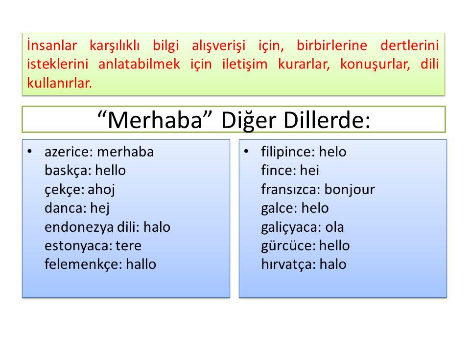 Merhaba Diğer Dillerde: azerice: merhaba baskça: hello çekçe: ahoj danca: hej endonezya dili: halo estonyaca: tere felemenkçe: hallo filipince: helo fince: hei fransızca: bonjour galce: helo galiçyaca: ola gürcüce: hello hırvatça: halo İnsanlar karşılıklı bilgi alışverişi için, birbirlerine dertlerini isteklerini anlatabilmek için iletişim kurarlar, konuşurlar, dili kullanırlar.