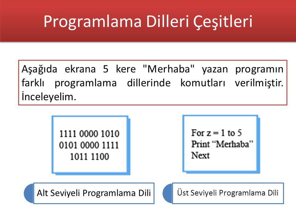 Üst Seviyeli Programlama Dili Alt Seviyeli Programlama Dili Aşağıda ekrana 5 kere Merhaba yazan programın farklı programlama dillerinde komutları verilmiştir.