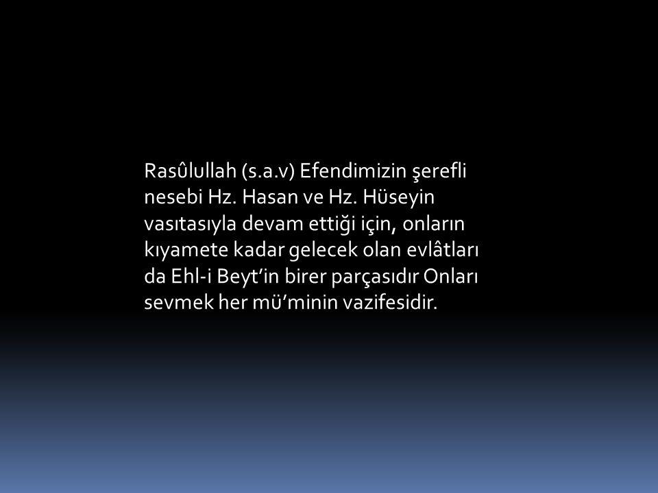 . Rasûlullah (s.a.v) Efendimizin şerefli nesebi Hz. Hasan ve Hz. Hüseyin vasıtasıyla devam ettiği için, onların kıyamete kadar gelecek olan evlâtları