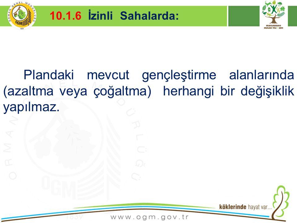16/12/2010 Kurumsal Kimlik 25 Plandaki mevcut gençleştirme alanlarında (azaltma veya çoğaltma) herhangi bir değişiklik yapılmaz. 10.1.6 İzinli Sahalar