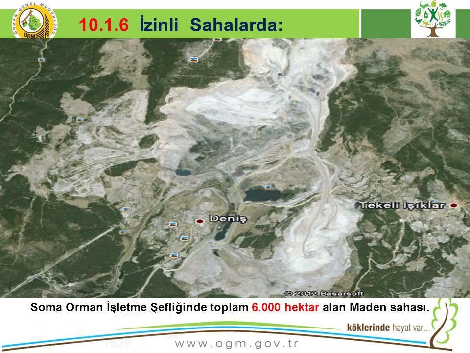 16/12/2010 Kurumsal Kimlik 26 10.1.6 İzinli Sahalarda: Soma Orman İşletme Şefliğinde toplam 6.000 hektar alan Maden sahası.