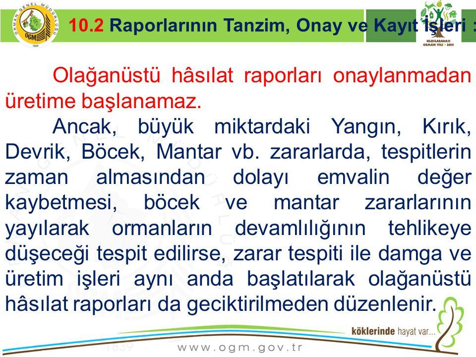 16/12/2010 Kurumsal Kimlik 30 10.2 Raporlarının Tanzim, Onay ve Kayıt İşleri : Olağanüstü hâsılat raporları onaylanmadan üretime başlanamaz. Ancak, bü