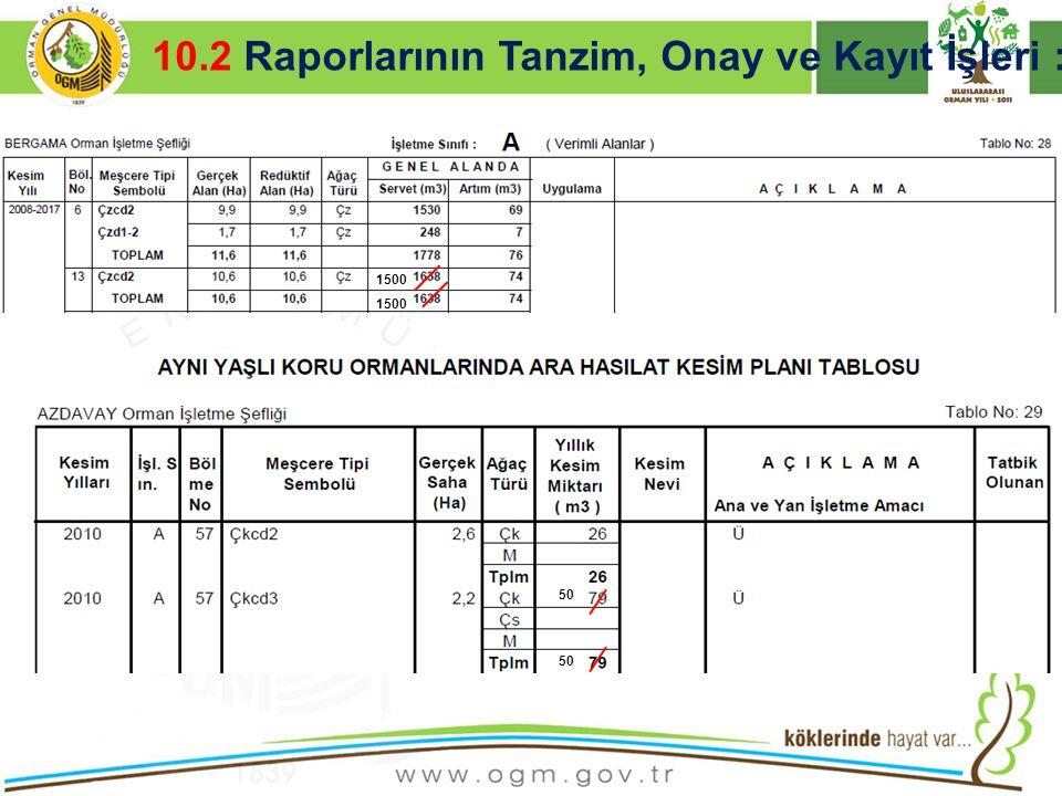 16/12/2010 Kurumsal Kimlik 32  İÇERİK AÇIKLAMASI VE RESİMLER 10.2 Raporlarının Tanzim, Onay ve Kayıt İşleri : 1500 50