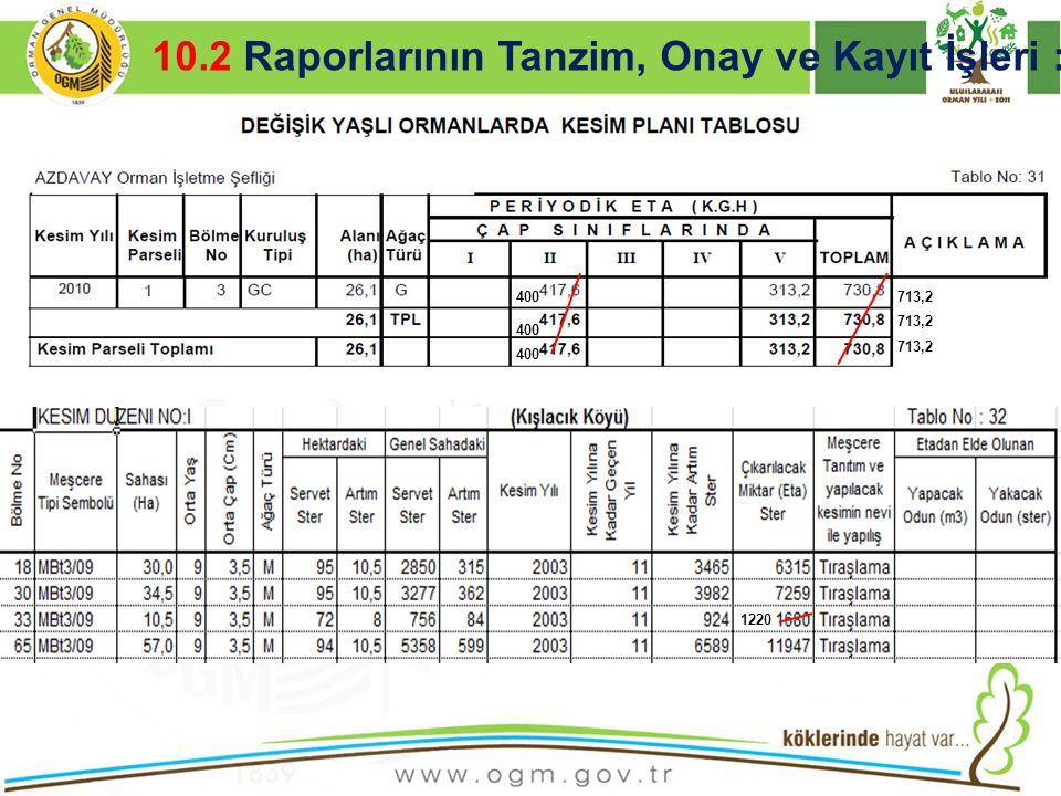 16/12/2010 Kurumsal Kimlik 33  İÇERİK AÇIKLAMASI VE RESİMLER 10.2 Raporlarının Tanzim, Onay ve Kayıt İşleri : 400 713,2 1220