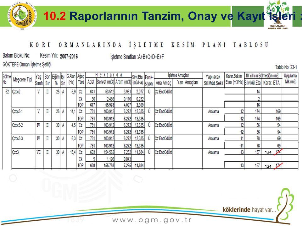 16/12/2010 Kurumsal Kimlik 34  İÇERİK AÇIKLAMASI VE RESİMLER 10.2 Raporlarının Tanzim, Onay ve Kayıt İşleri : 124