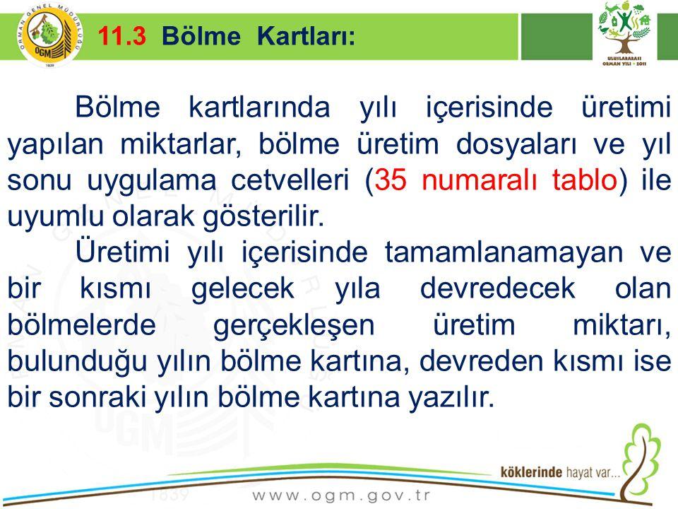 16/12/2010 Kurumsal Kimlik 40 Bölme kartlarında yılı içerisinde üretimi yapılan miktarlar, bölme üretim dosyaları ve yıl sonu uygulama cetvelleri (35
