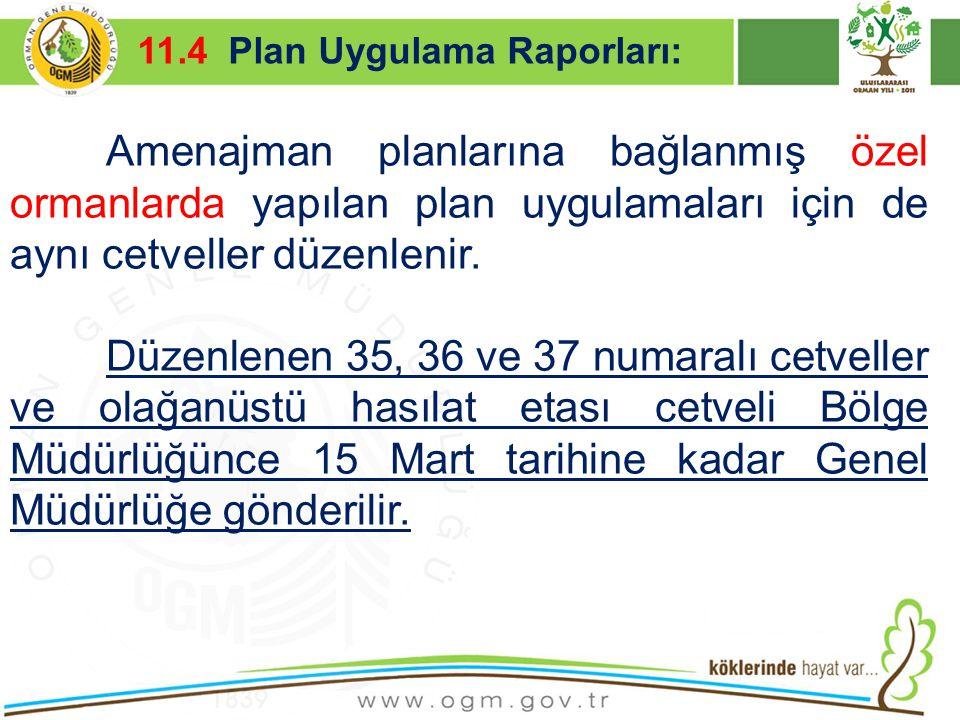 16/12/2010 Kurumsal Kimlik 49 Amenajman planlarına bağlanmış özel ormanlarda yapılan plan uygulamaları için de aynı cetveller düzenlenir. Düzenlenen 3