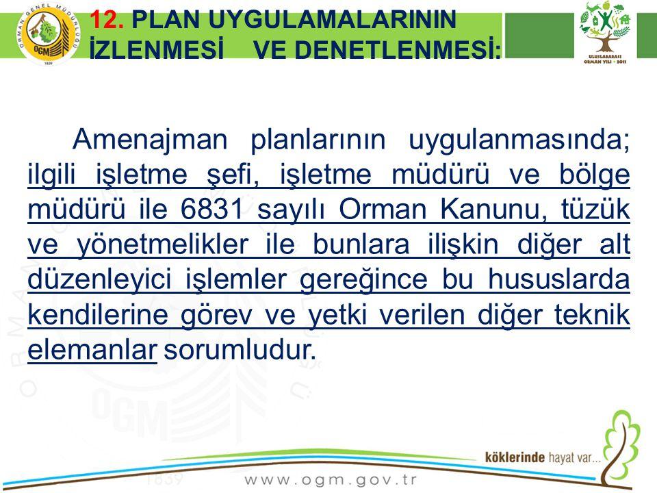16/12/2010 Kurumsal Kimlik 52 Amenajman planlarının uygulanmasında; ilgili işletme şefi, işletme müdürü ve bölge müdürü ile 6831 sayılı Orman Kanunu,