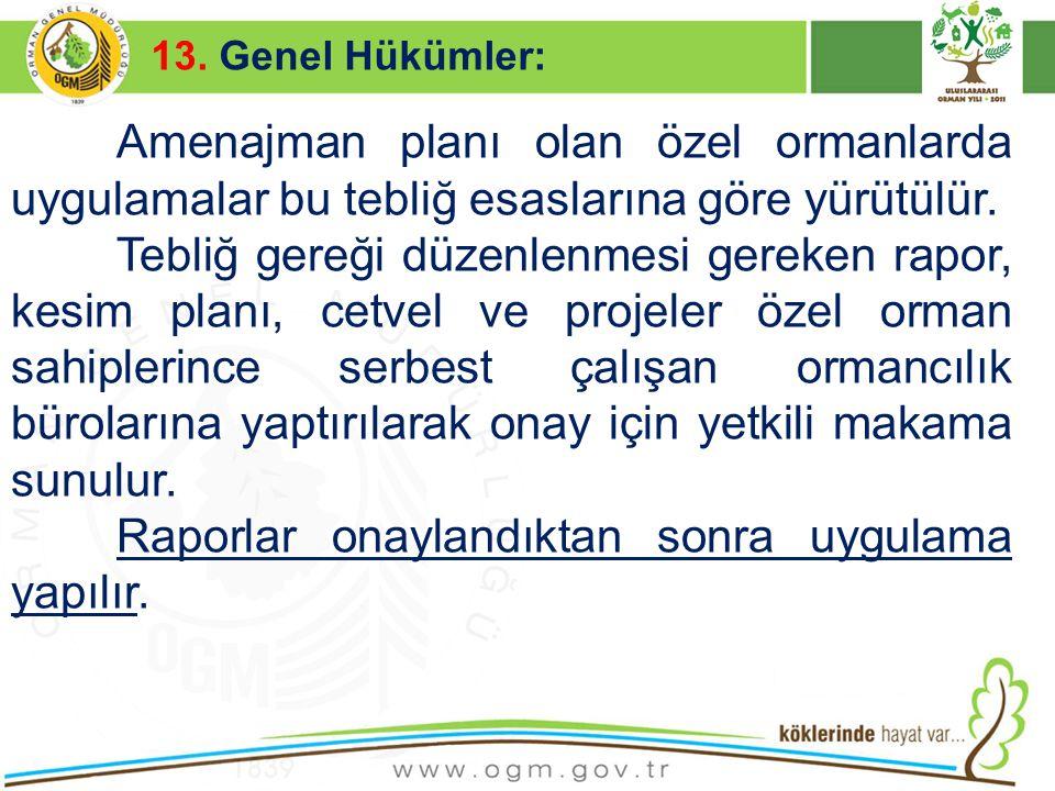 16/12/2010 Kurumsal Kimlik 56 13. Genel Hükümler: Amenajman planı olan özel ormanlarda uygulamalar bu tebliğ esaslarına göre yürütülür. Tebliğ gereği